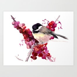 Chickadee and Berries Art Print