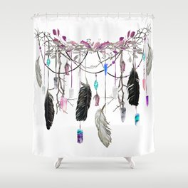 Raven Feathers And Roses Crystal Spirit Gazer Shower Curtain