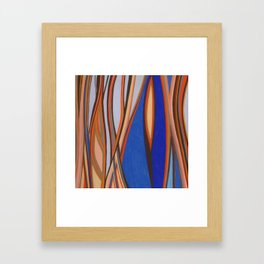 Retro Blues Browns Oranges Line Design with Pastels by annmariescreations Framed Art Print