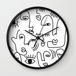 Abstract Faces Art Print  Wall Clock
