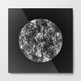 Silver Moon - Abstract, textured silver foil lunar design Metal Print
