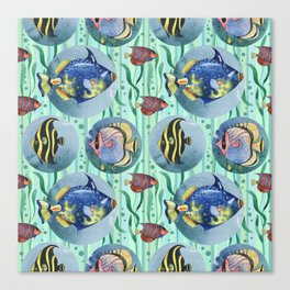 Watercolor seamless hand drawn pattern with tropical fish. Canvas Print