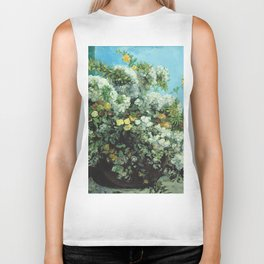 Gustave Courbet - Flowering Branches And Flowers Biker Tank