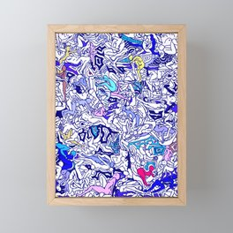 Kamasutra LOVE - Indigo Blue Framed Mini Art Print
