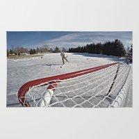 hockey Area & Throw Rugs featuring Pond Hockey  by LukeyD