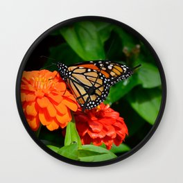 Monarch and the Mum by Teresa Thompson Wall Clock
