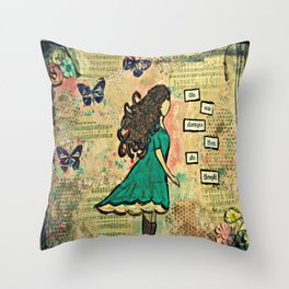 she was stronger Throw Pillow