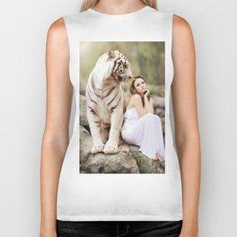 White Tiger from Bengal | Tigre blanc du Bengale Biker Tank
