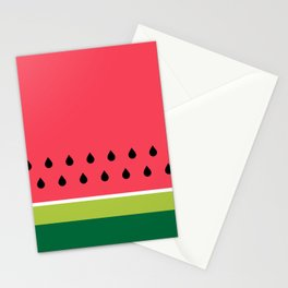 Pink and Green Watermelon Fruit Stripes Stationery Cards