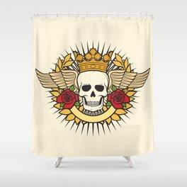 skull symbol tattoo design (crown, laurel wreath, wings, roses and banner) Shower Curtain
