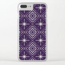 Shibori Style Stars Pattern on Violet Purple Clear iPhone Case