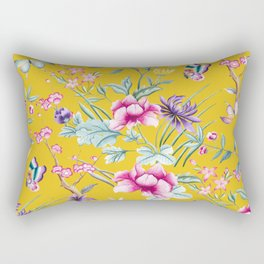 Yellow Chinoiserie Asian Floral Print Rectangular Pillow