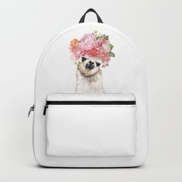 Llama with Beautiful Flowers Crown Backpack