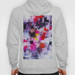 vintage psychedelic geometric square pixel pattern abstract in pink red blue purple Hoody