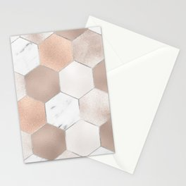 Rose pearl and marble hexagons Stationery Cards