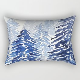 A snowy pine forest Rectangular Pillow