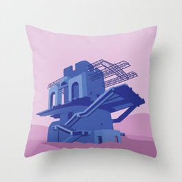 Soviet Modernism: Cable car station in Ijevan Throw Pillow