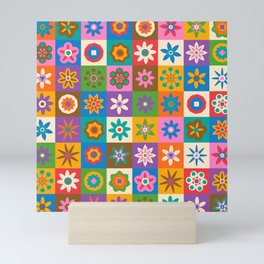 MATCH THE FLOWERS BOHO QUILT PATTERN Mini Art Print