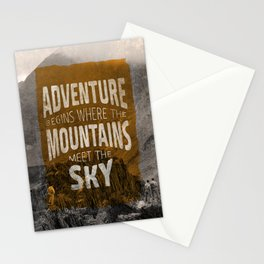 Adventure begins where the mountains meet the sky Stationery Cards