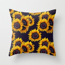 Sunflowers yellow navy blue elegant colorful pattern Throw Pillow