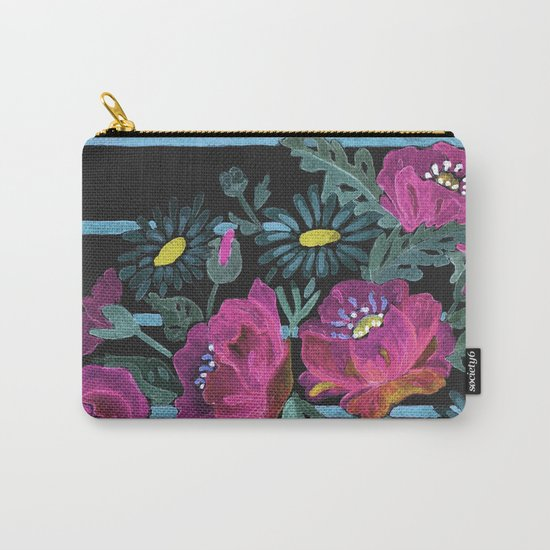 Watercolor Poppies on a striped background. 2 Carry-All Pouch