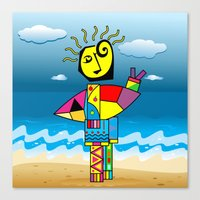 surfer Canvas Prints featuring Surfer by Moisés Ferreira