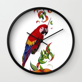 red parrot with rainbow leaves Wall Clock