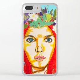 Red haired girl with flowers in her hair Clear iPhone Case
