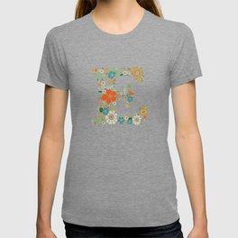 Hippie Floral Letter E T-shirt