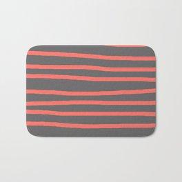 Living Coral Stripes on Gray Bath Mat