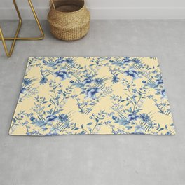 Chinoiserie Flowers Blue on Lemon Honey Creme Rug