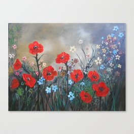 Impasto Red Poppy Love Garden Canvas Print
