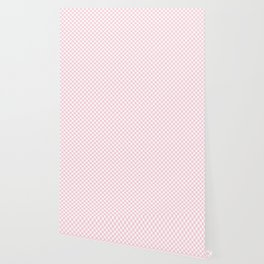 Light Soft Pastel Pink and White Checkerboard Wallpaper