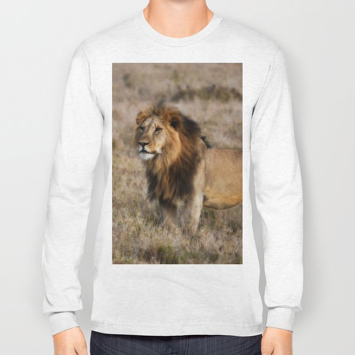 African Lion in Kenya Long Sleeve T-shirt