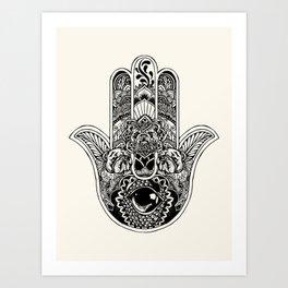 Hamsa Hand English Bulldog Art Print