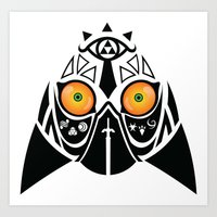 majora Art Prints featuring Majora Tribal by CrodriguezArt