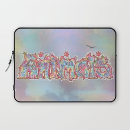 Kaleidoscopic Animals (Text) Laptop Sleeve