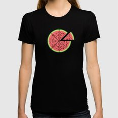 Watermelon Pizza MEDIUM Black Womens Fitted Tee