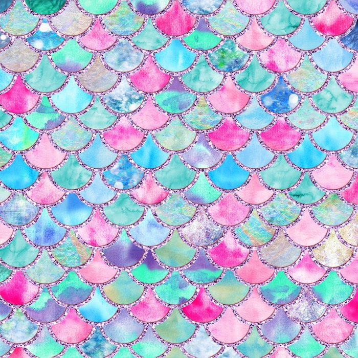 Colorful Pink And Blue Watercolor Trendy Glitter Mermaid