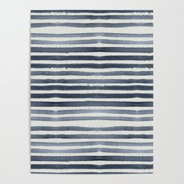 Simply Shibori Stripes Indigo Blue on Lunar Gray Poster