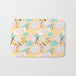 Blush pink yellow aqua black abstract geometrical pattern Bath Mat