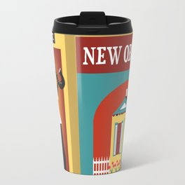New Orleans, Louisiana - Collage Illustration by Loose Petals Travel Mug