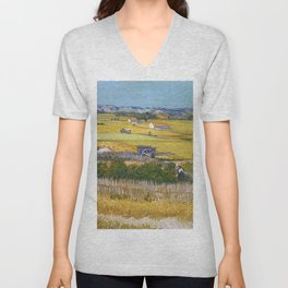 1888-Vincent van Gogh-The harvest-73x92 Unisex V-Neck