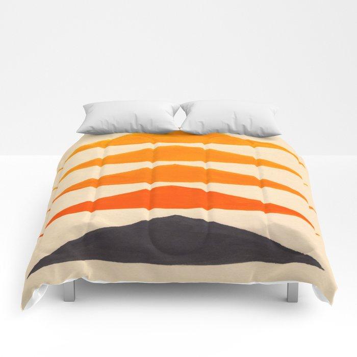 Vintage Scandinavian Orange Geometric Triangle Pattern Comforters