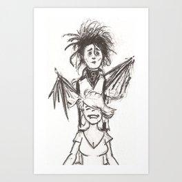 Edward Scissorhands Haircut Art Print