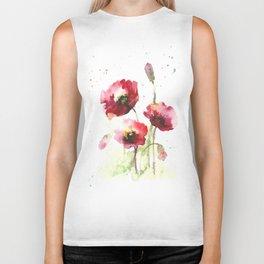 Watercolor flowers of poppy Biker Tank