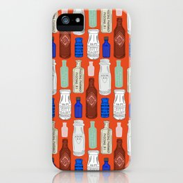 Vintage Bottle Collection Illustrated Repeat Pattern Print iPhone Case