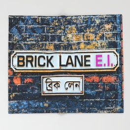 London Brick Lane Sign Throw Blanket