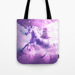 Kitty Cat Riding On Flying Space Galaxy Unicorn Tote Bag