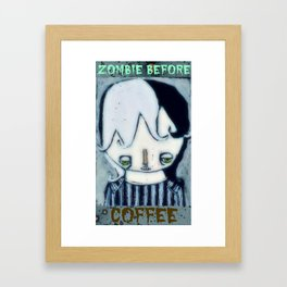Zombie before Coffee Framed Art Print